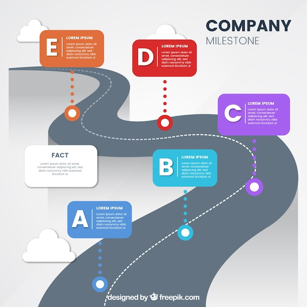 Colorful company milestones with flat design Free Vector