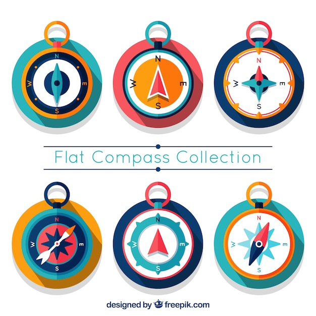 Colorful compass set Free Vector