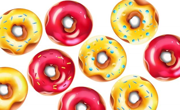 Красочная композиция с глазированными розовыми и желтыми посыпанными пончиками Бесплатные векторы