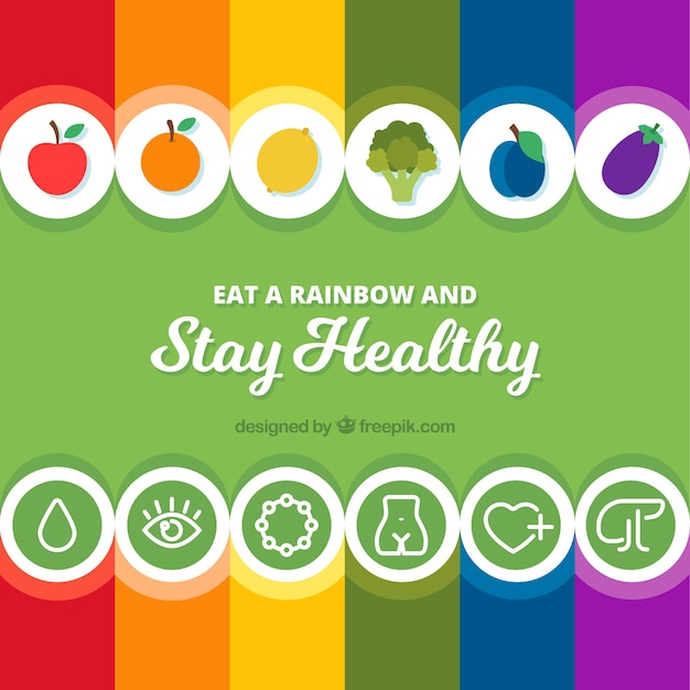 Colorful composition with healthy food Free Vector