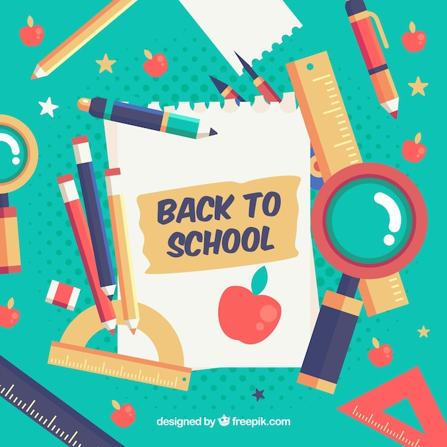 Colorful composition with school materials in flat design Free Vector