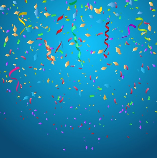 Colorful confetti on blue background Free Vector