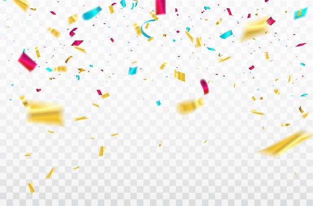Colorful confetti celebration carnival ribbons. Premium Vector
