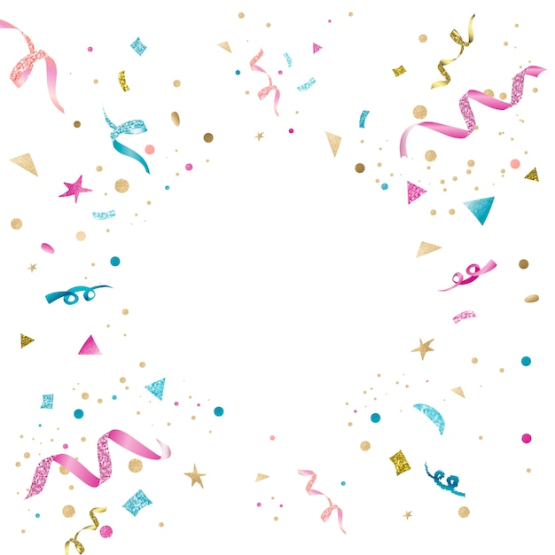 Colorful confetti celebratory design Free Vector