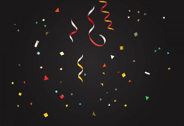 Colorful confetti on dark background. Premium Vector