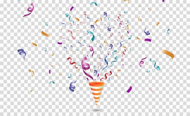 Colorful confetti. festive cheerful. cone with confetti. Premium Vector