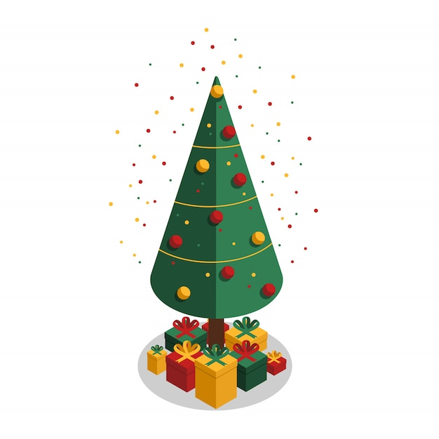 Colorful confetti and festive christmas tree with gifts Premium Vector