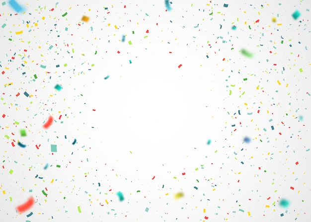 Colorful confetti flying randomly. abstract background with explosion particles Premium Vector
