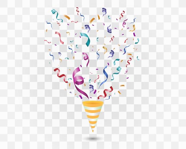 Colorful confetti on a white background. festive cheerful  background. cone with confetti. Premium Vector
