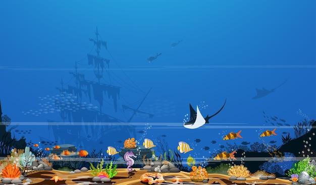 Красочные коралловые рифы с рыбой и тени деревьев на синем морском дне и обломки. Premium векторы