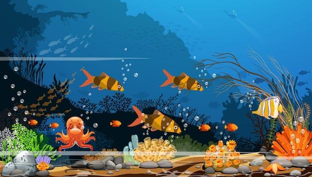 Красочные коралловые рифы с рыбой и тени деревьев на синем морском дне с дайверами. Premium векторы