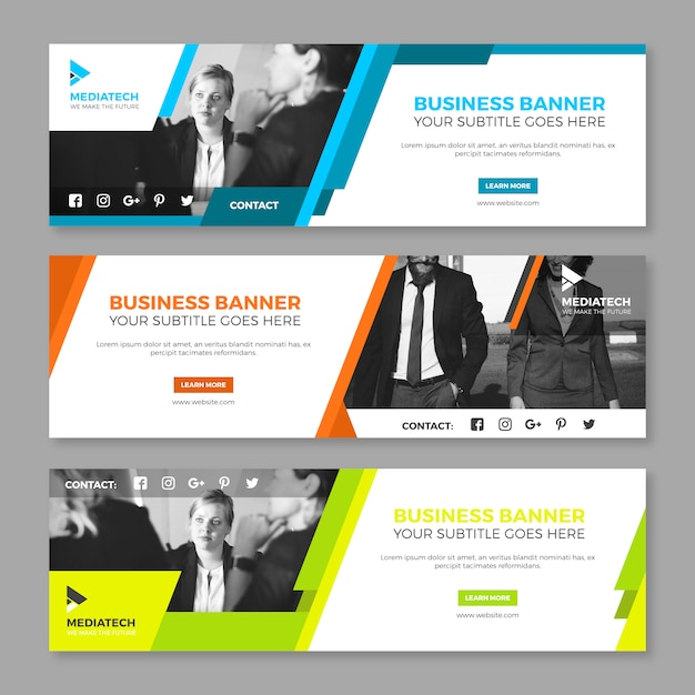 Colorful corporate banner collection Free Vector