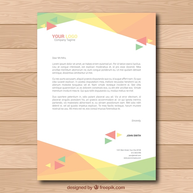 Colorful corporate brochure with triangles