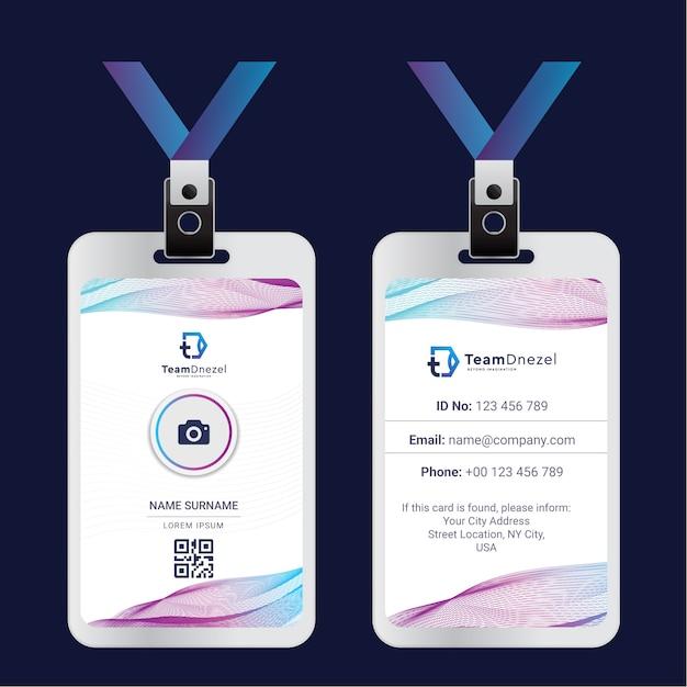 Colorful corporate id card template   Premium Vector