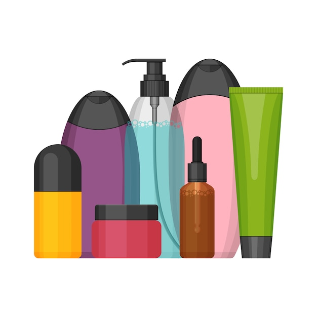 Набор красочных косметических флаконов, плоский дизайн Premium векторы