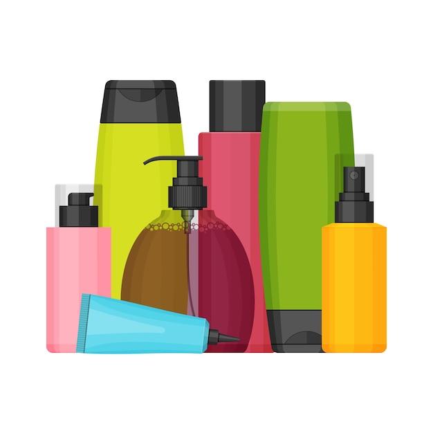 Набор красочных косметических флаконов для красоты и очищающих средств, ухода за кожей и телом, туалетных принадлежностей. плоский дизайн на белом фоне. крем, зубная паста, шампунь, гель, спрей, тюбик и мыло Premium векторы
