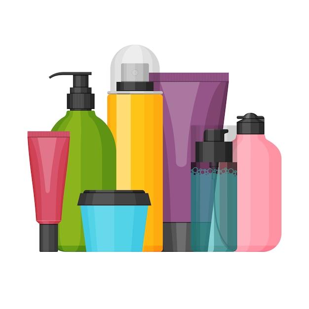 Набор красочных косметических флаконов для красоты и очищающих средств, ухода за кожей и телом. Premium векторы