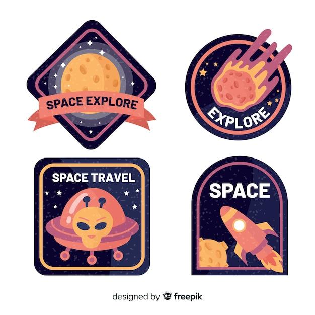 Набор красочных космических стикеров Бесплатные векторы