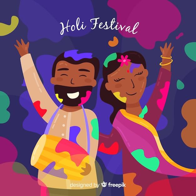 Красочная пара холи фестиваля фон Бесплатные векторы