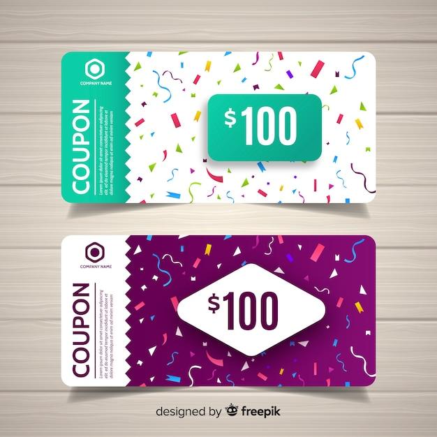 Modello di coupon colorato con design piatto Vettore gratuito