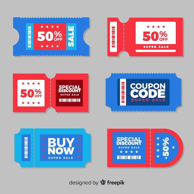Colorful coupon template with flat design Free Vector