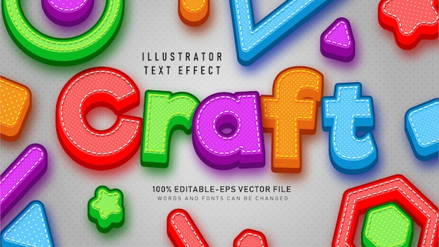 Colorful craft  text style effect Free Vector