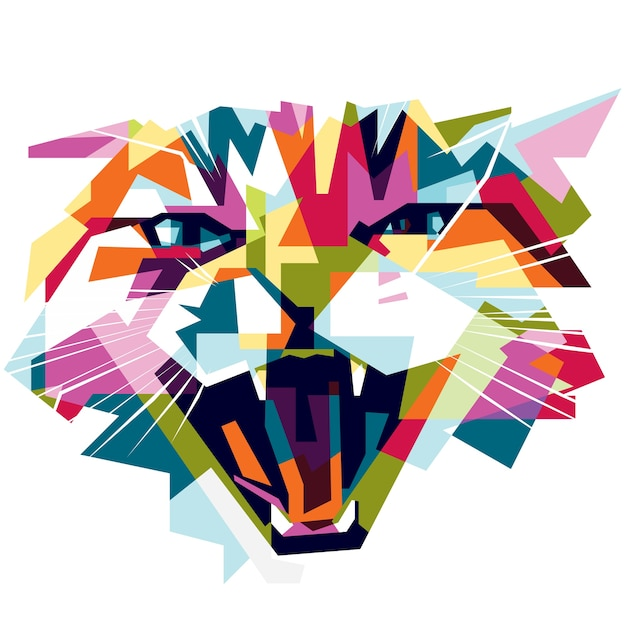 colorful crazy cat Premium Vector