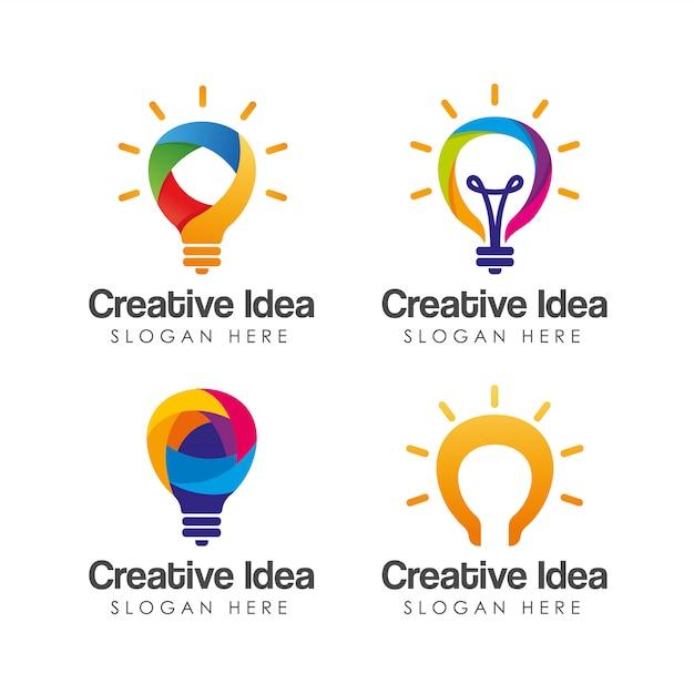 Colorful creative idea logo template. Premium Vector