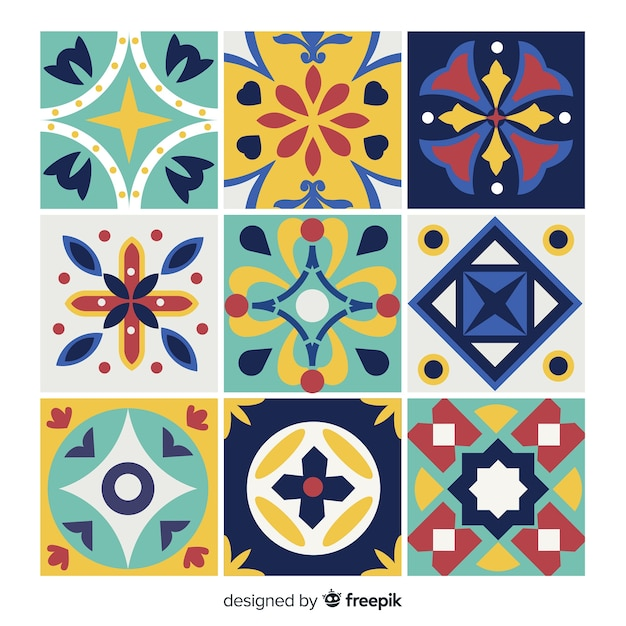 Colorful creative tile pack Free Vector