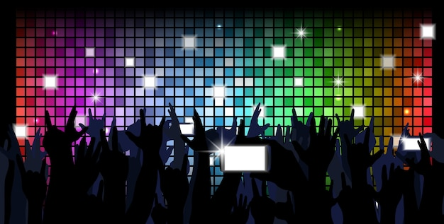 Colorful crowd of party people silhouettes background Premium Vector