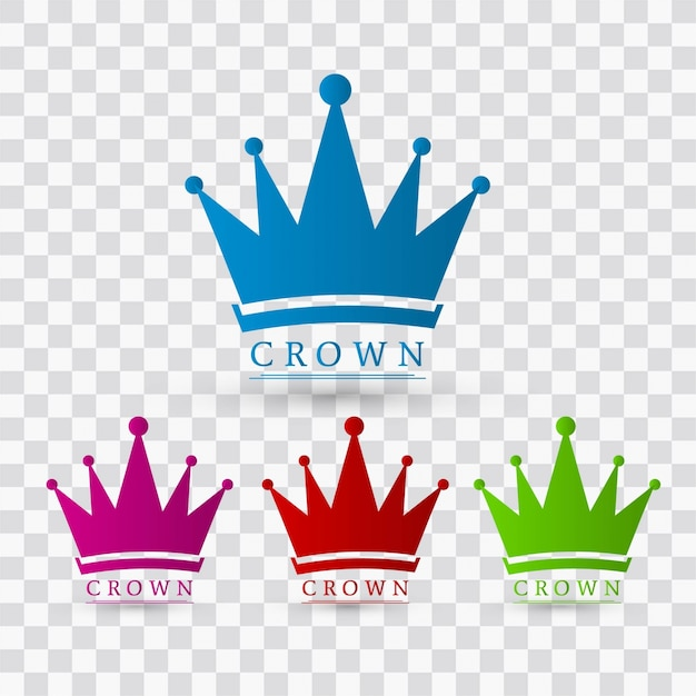 Colorful crown designs Free Vector
