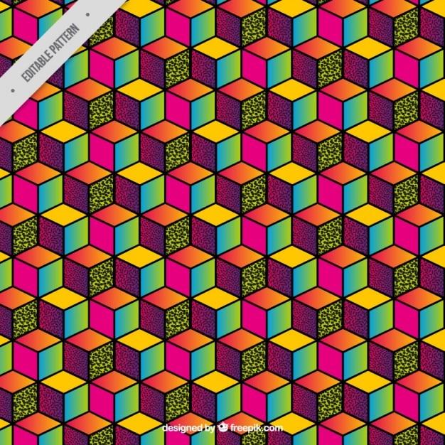 Cubo di sfondo colorato Vettore gratuito