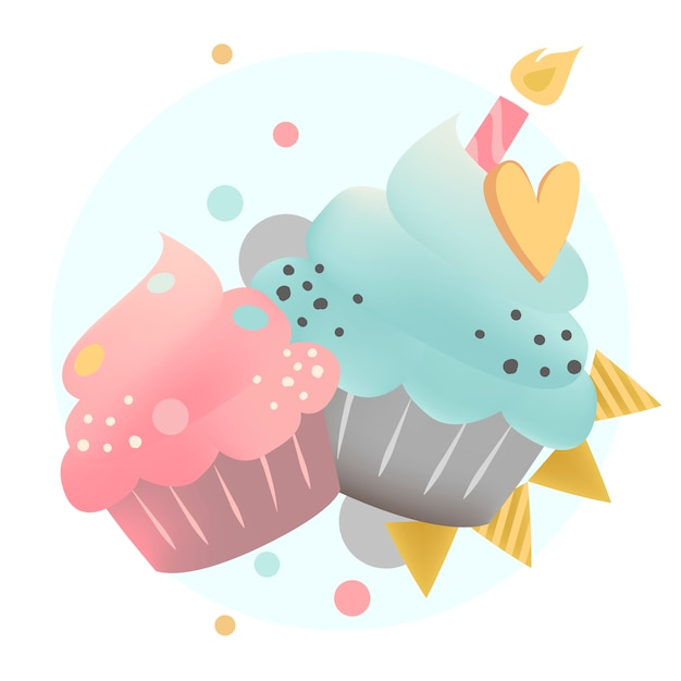 Colorful cupcake vector with a candle Free Vector