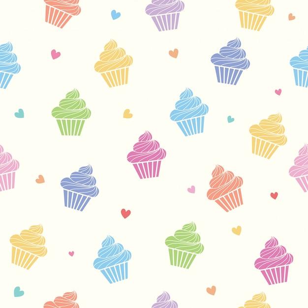 Colorful cupcakes seamless pattern Premium Vector
