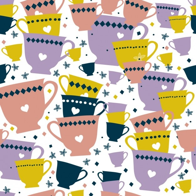 Colorful cups pattern Free Vector