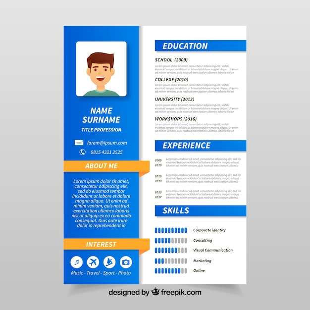 colorful curriculum template with flat design vector