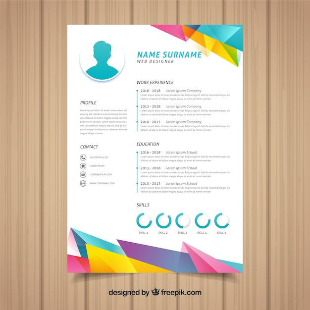 Colorful curriculum template with geometric design Free Vector