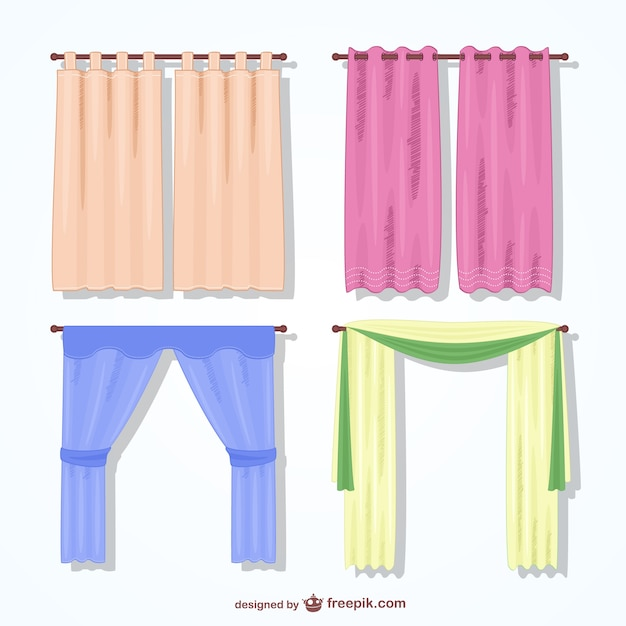 Colorful curtains pack Vector | Free Download