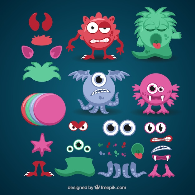 Colorful customizable monster Free Vector