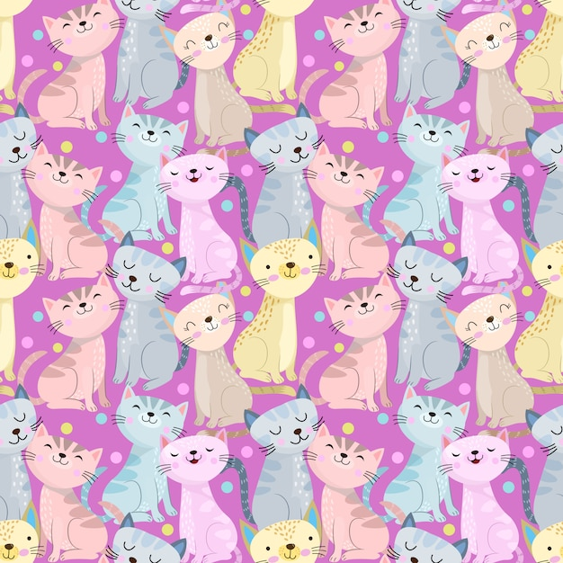 Colorful cute cat seamless pattern on purple background. Premium Vector