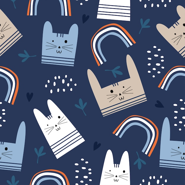 Colorful cute cats seamless pattern Premium Vector