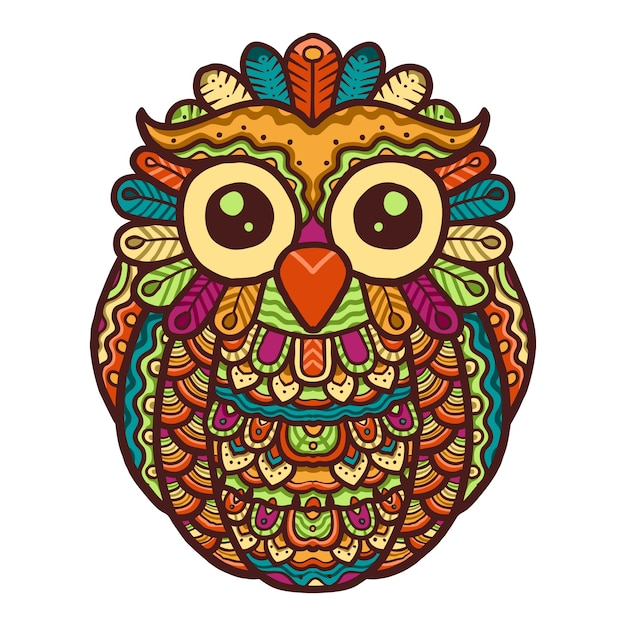 Colorful cute owl mandala vector design Premium Vector