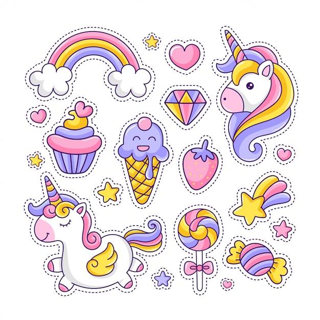 Красочный милый стикер-пакет единорога и десертов Premium векторы