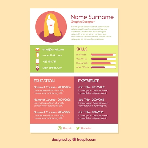Colorful cv concept Vector | Free Download