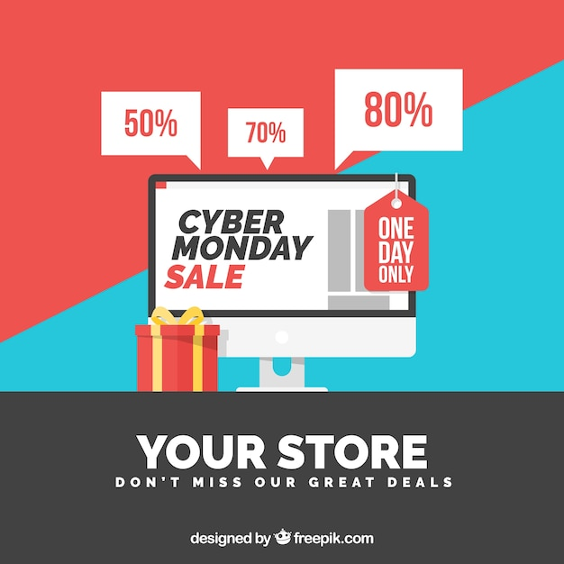 Colorful cyber monday design in flat style