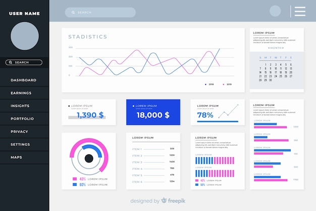 Colorful dashboard user panel Free Vector