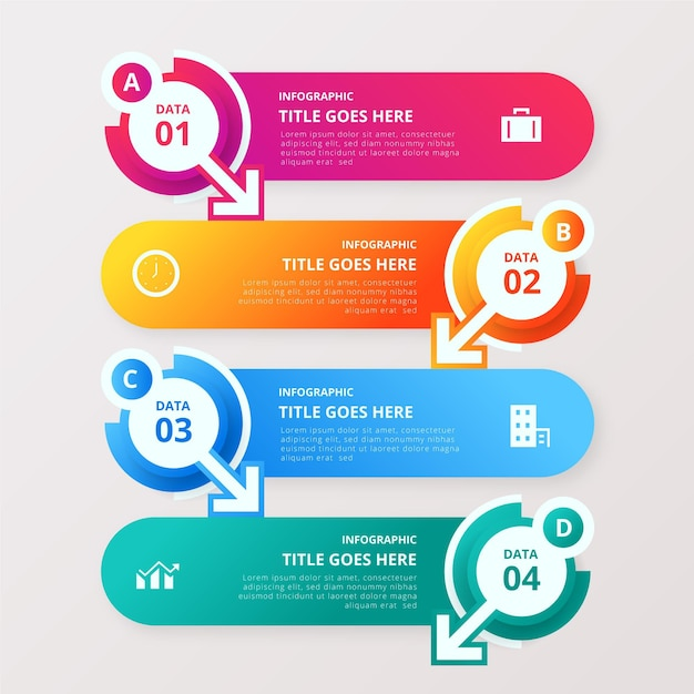 Colorful data infographic with details Free Vector