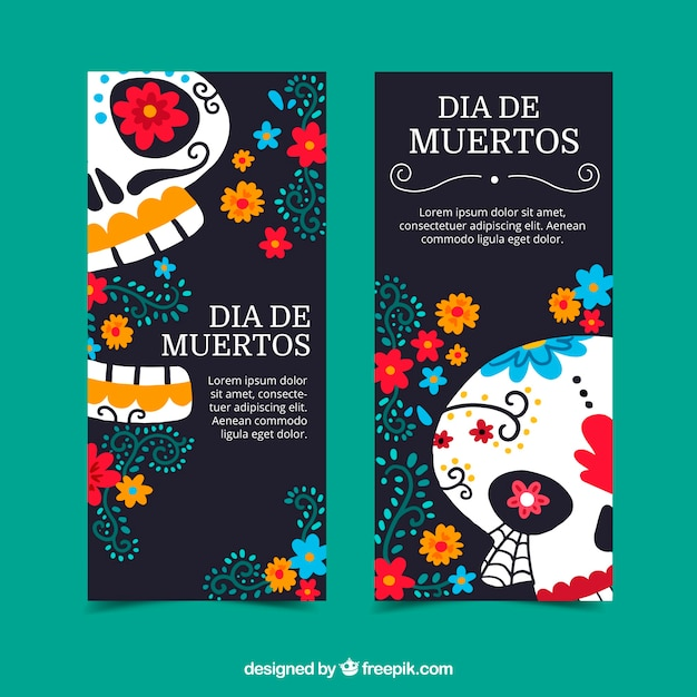 Colorful deads' day banners Free Vector