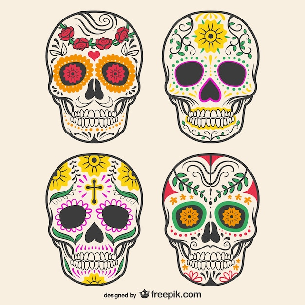Colorful decorated skulls Premium Vector