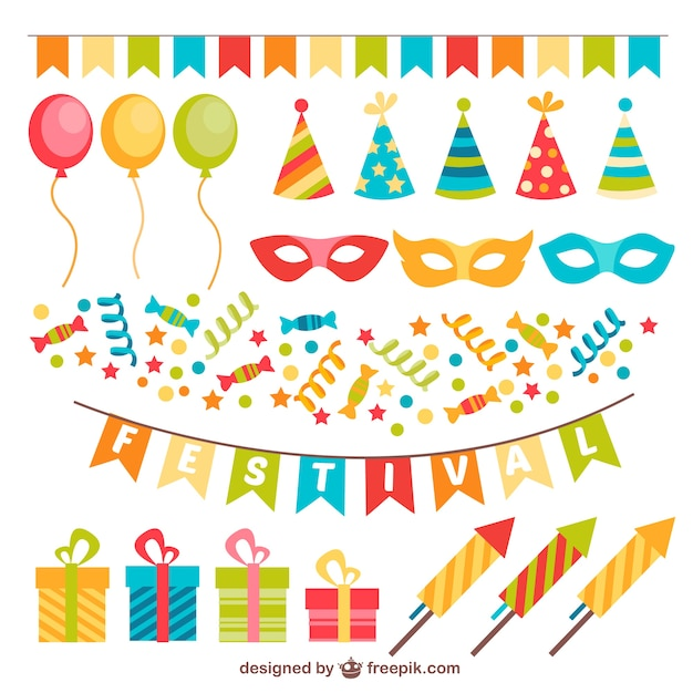 Colorful decoration for party Vector Premium Download